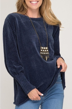 Shoptiques Product: Navy Puff-Sleeve Sweater