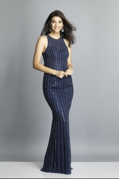 Dave and Johnny Navy Rhinestone Gown - Product List Image
