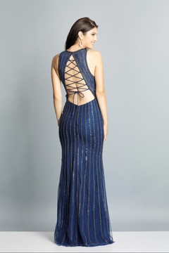 Dave and Johnny Navy Rhinestone Gown - Alternate List Image