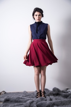 Loula by Zermeno Navy Ribbon Blouse - Product List Image