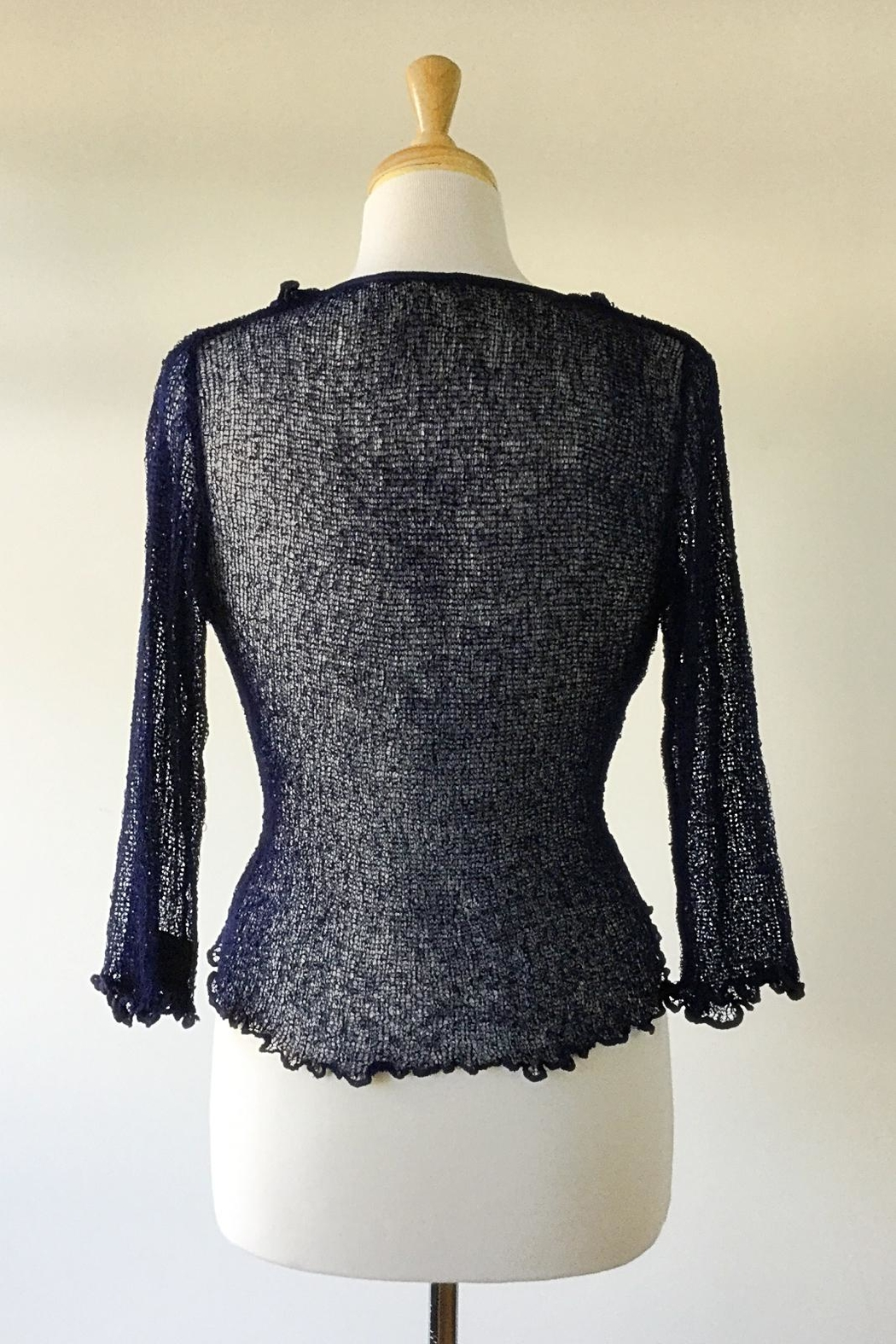 Scarborough Fair Navy Ruffle Cardigan - Side Cropped Image