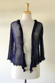 Scarborough Fair Navy Ruffle Cardigan - Front full body