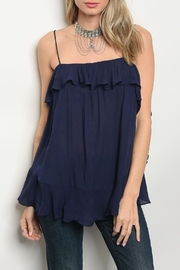 Mustard Seed Navy Ruffle Top - Product Mini Image