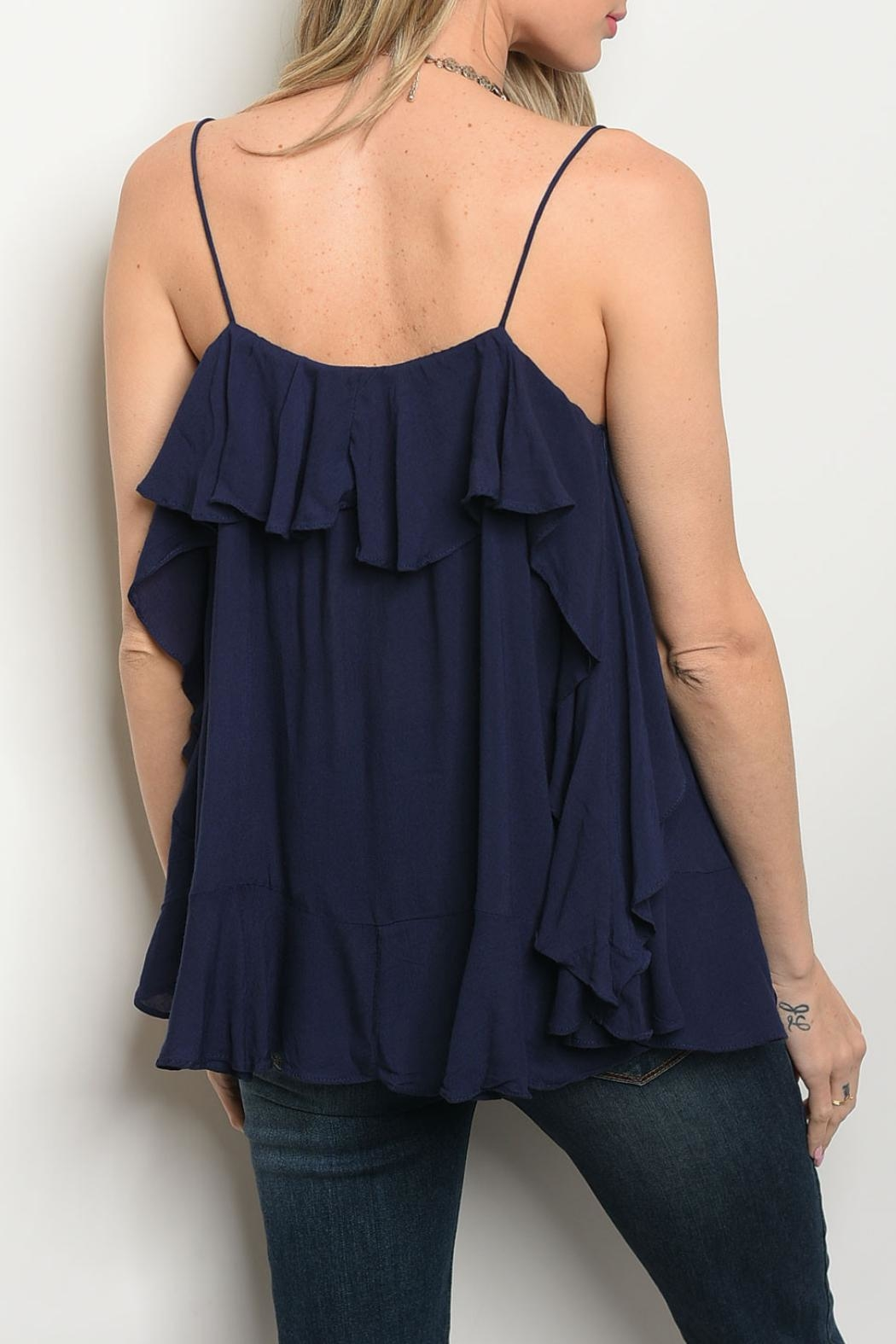 Mustard Seed Navy Ruffle Top - Front Full Image