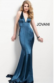 Jovani Navy Satin Gown - Front cropped