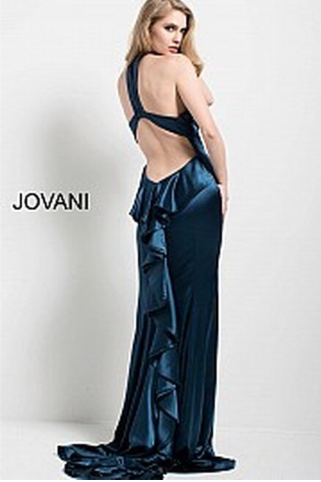 Jovani Navy Satin Gown - Front Full Image