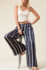 Love in  Navy Satin-Striped Straight-Leg-Pant - Product Mini Image