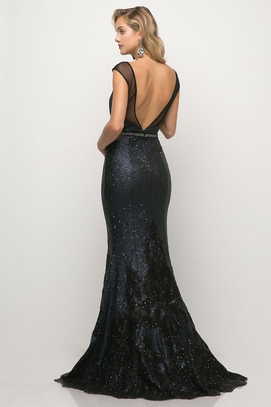 Cinderella Divine Navy Sequin Beaded Lace Long Formal Dress - Front Full Image