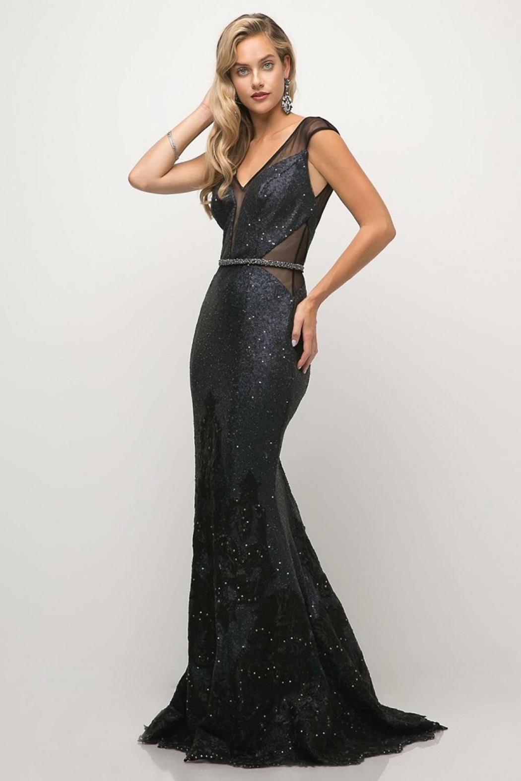 Cinderella Divine Navy Sequin Beaded Lace Long Formal Dress - Side Cropped Image
