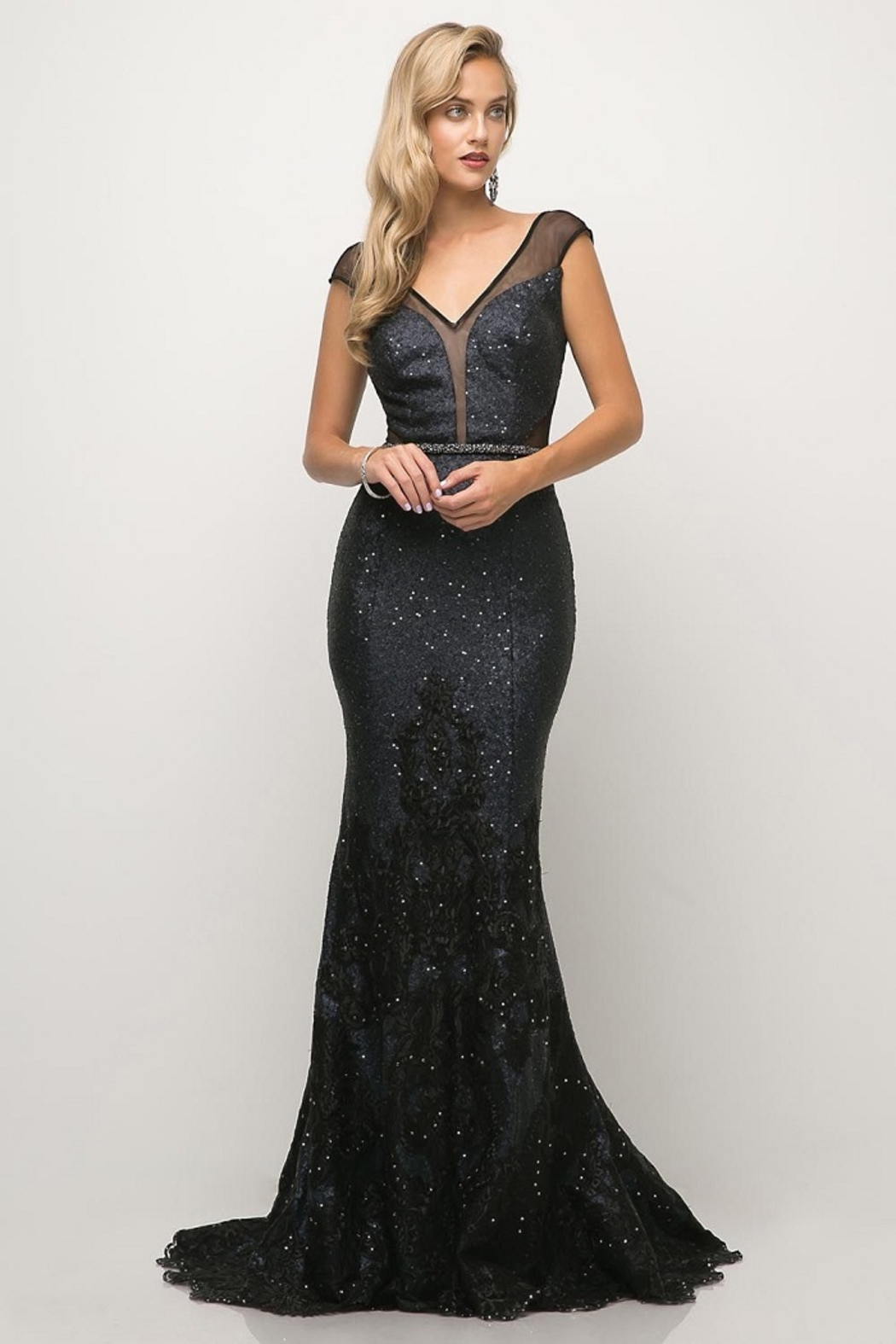 Cinderella Divine Navy Sequin Beaded Lace Long Formal Dress - Main Image