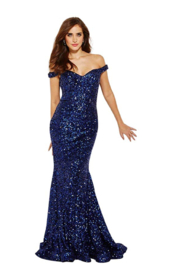 Jovani Navy Sequin Gown - Product Mini Image