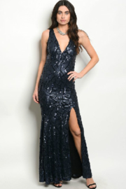 Spy Navy Sequin Gown - Product Mini Image
