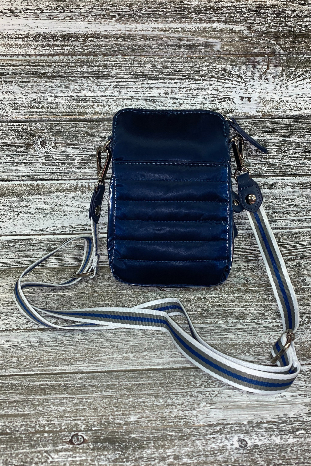 Sondra Roberts Navy Shiny Nylon Crossbody/Phone Bag - Front Full Image