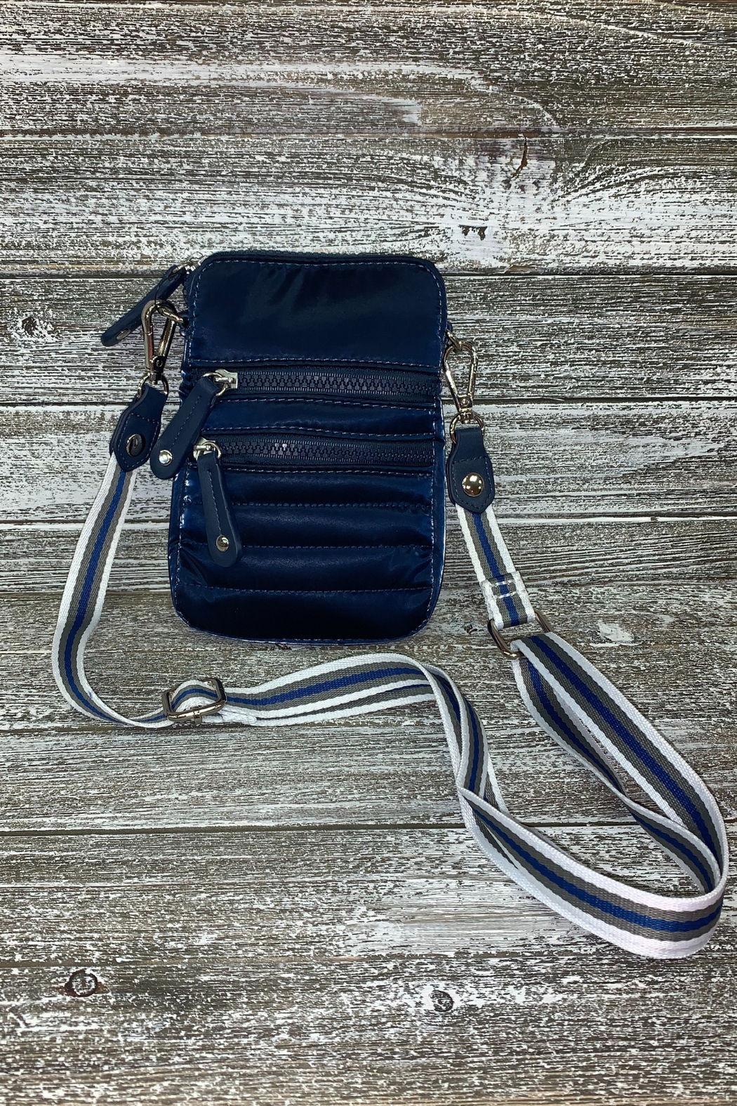Sondra Roberts Navy Shiny Nylon Crossbody/Phone Bag - Main Image