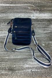 Sondra Roberts Navy Shiny Nylon Crossbody/Phone Bag - Front cropped