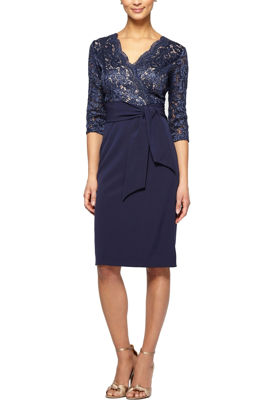 Alex Evenings Navy short dress - Front Cropped Image