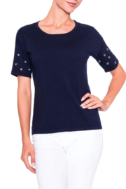 Alison Sheri Navy Short Grommet Sleeve Sweater - Product Mini Image