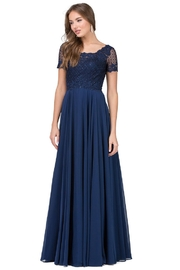 DANCING QUEEN Navy Short Sleeve Lace Long Formal Dress - Product Mini Image