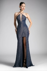Cinderella Divine Navy/Silver Metallic Fit & Flare Long Formal Dress - Front cropped