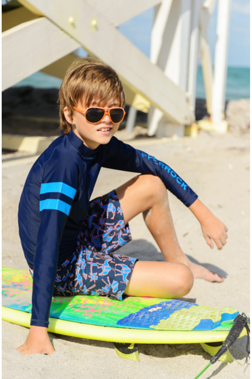 Snapper Rock Navy Sleeve Band Long Sleeve Rash Top - Front Full Image