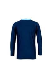 Snapper Rock Navy Sleeve Band Long Sleeve Rash Top - Front cropped