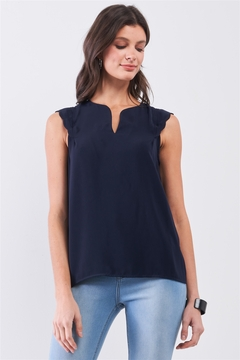 Tasha Apparel Navy Slit Neckline Scallop Hem Shoulder Detail Loose Fit Tank Top - Product List Image