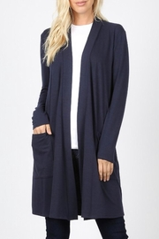 Zenana Outfitters Navy Slouchy-Pocket Cardigan - Product Mini Image