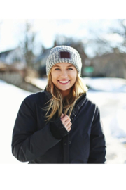 Love Your Melon Navy Speckled Cuffed Beanie - Side cropped