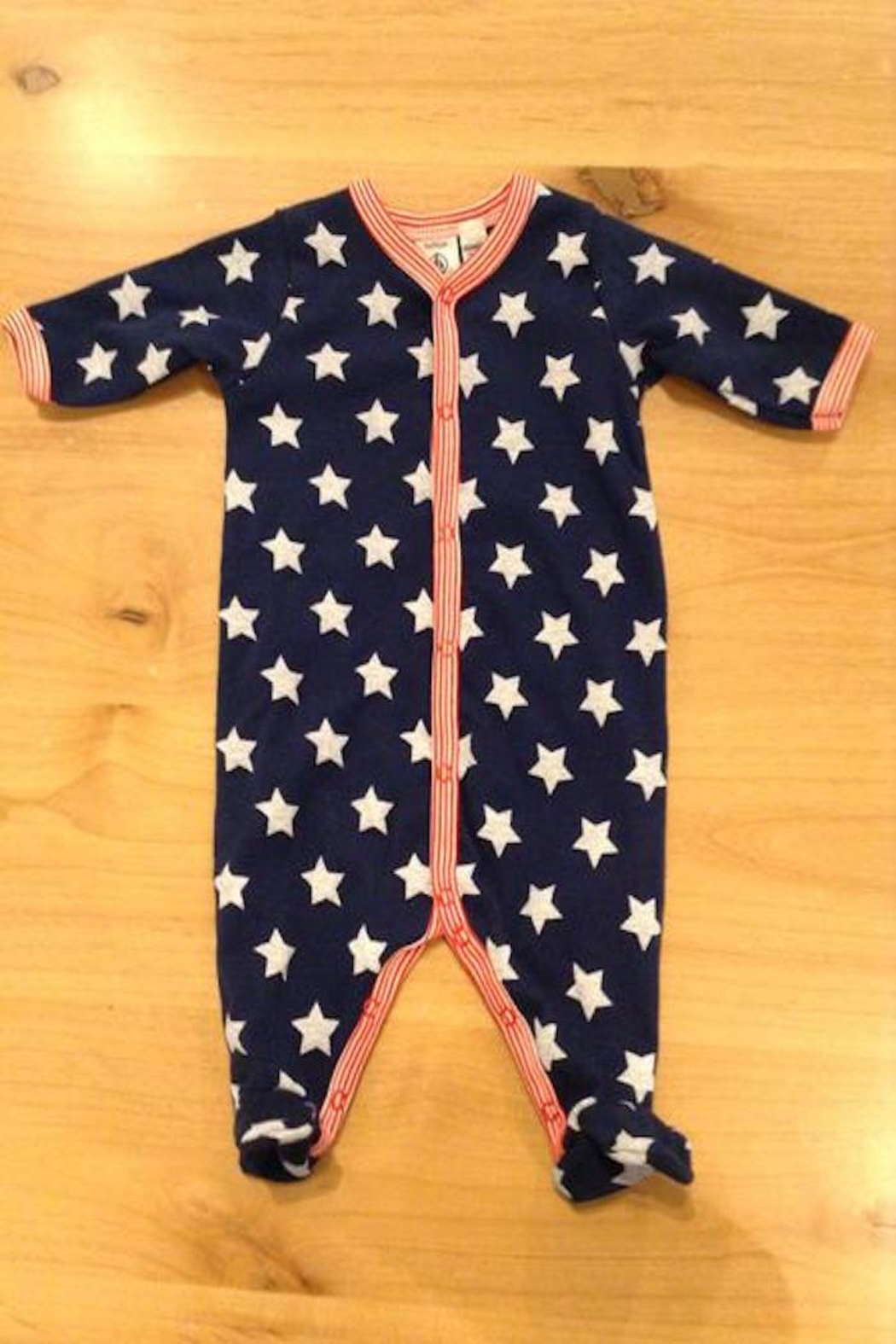 Petit Bateau Navy Star Footie - Front Cropped Image