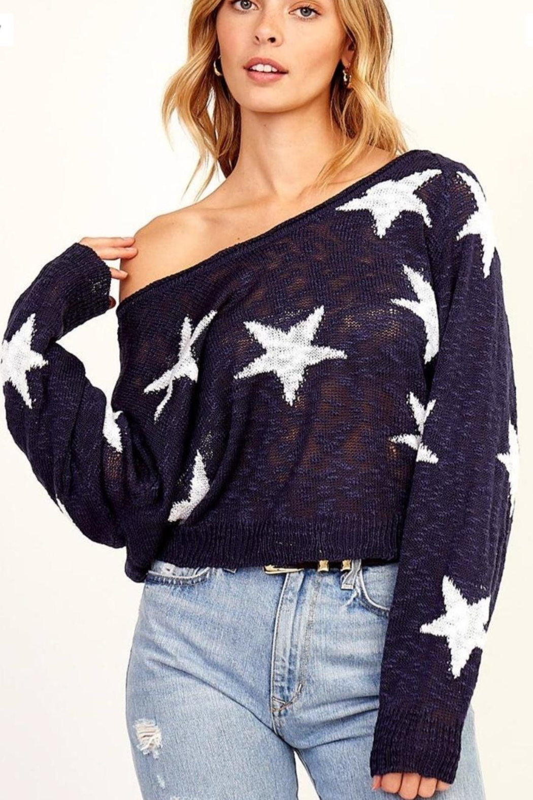 Olivaceous Navy Star Sweater - Main Image