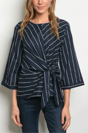 Fashion Navy Stripe Blouse - Product Mini Image