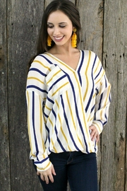 Andree by Unit Navy Stripe Blouse - Product Mini Image