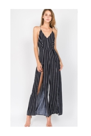 Polly & Esther Navy Stripe Jumpsuit - Product Mini Image