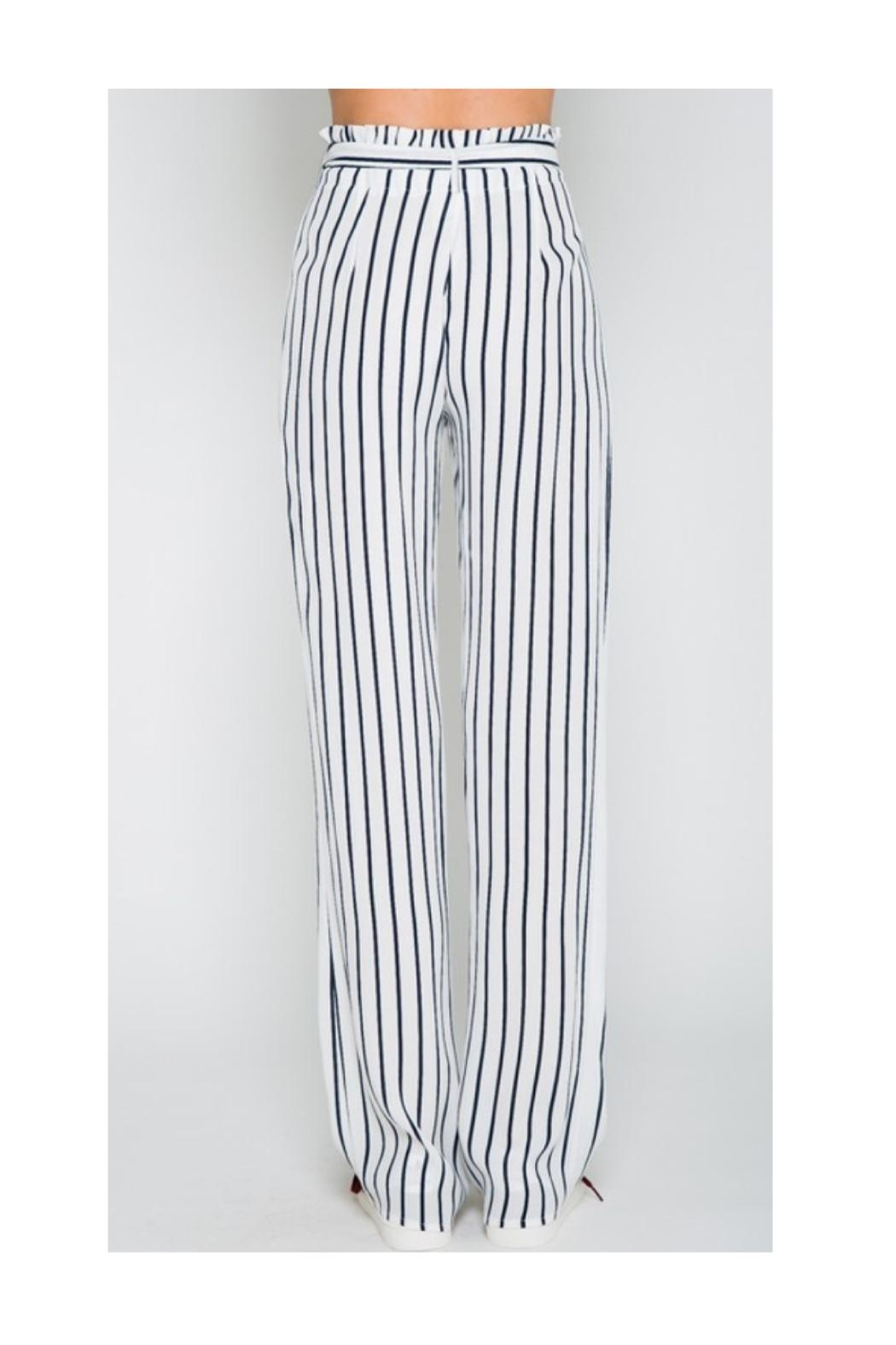 Polly & Esther Navy Stripe Pants - Front Full Image