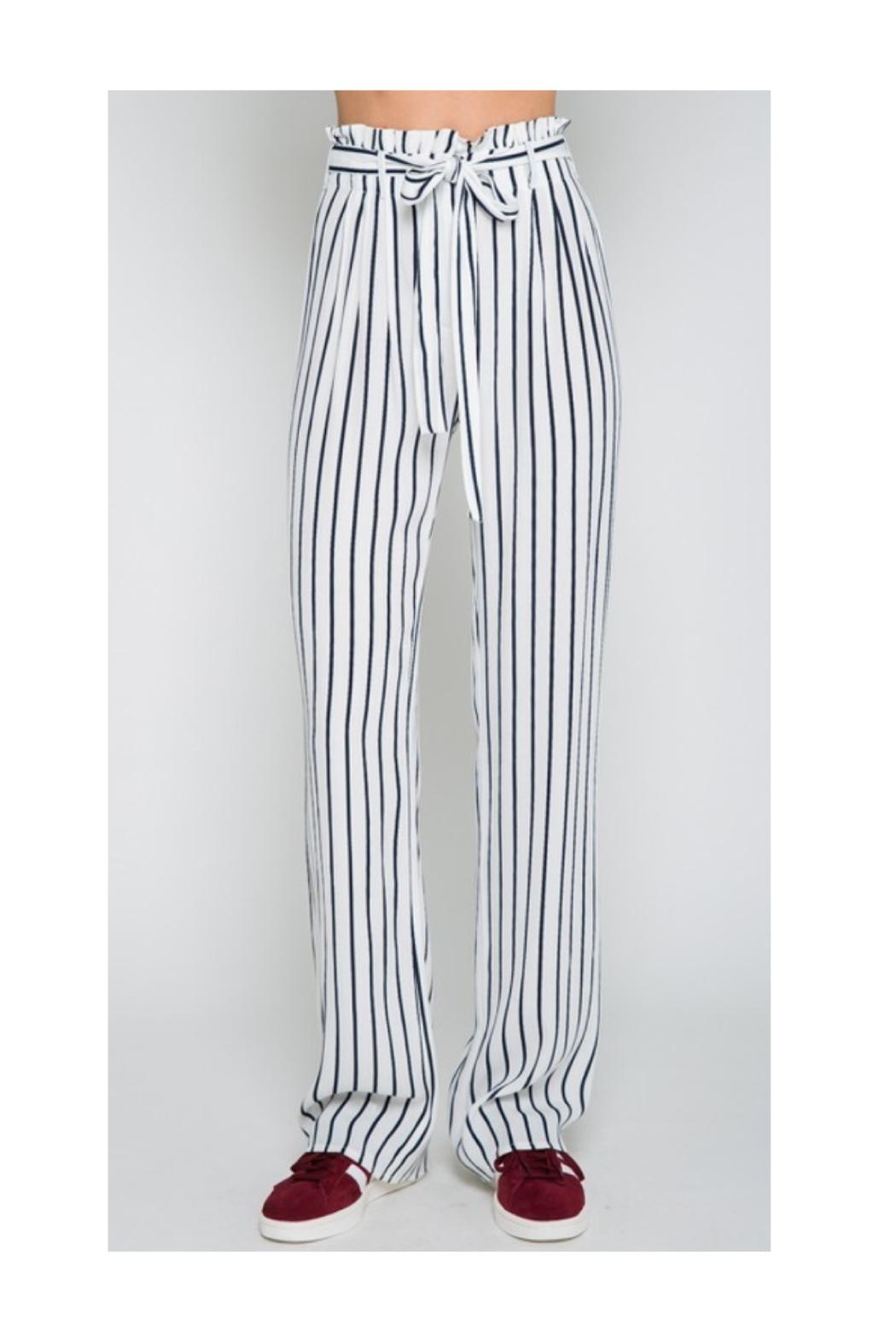 Polly & Esther Navy Stripe Pants - Main Image