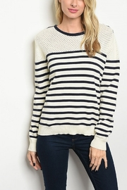 Lyn-Maree's  Navy Stripe Sweater - Product Mini Image