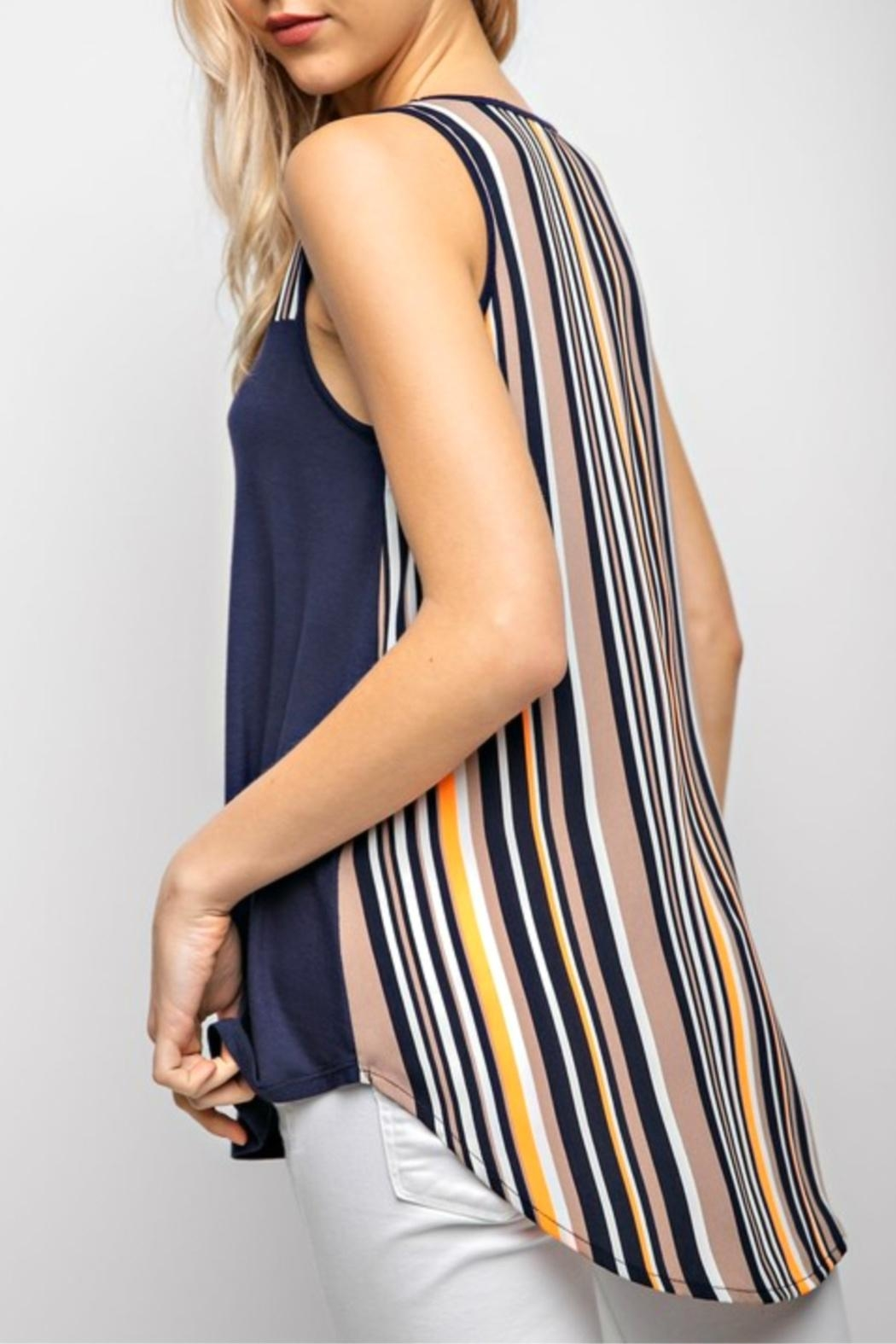 12pm by Mon Ami Navy&Stripe Tunic Tank-Top - Front Full Image