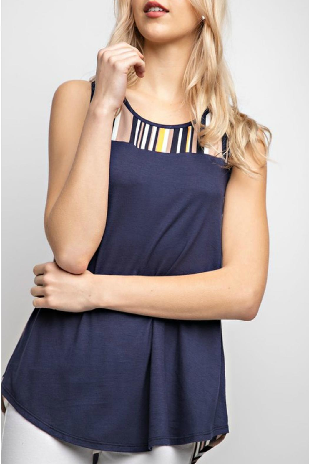 12pm by Mon Ami Navy&Stripe Tunic Tank-Top - Side Cropped Image