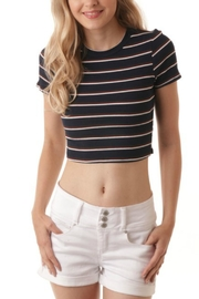 ijoah Navy Striped Crop-Top - Product Mini Image