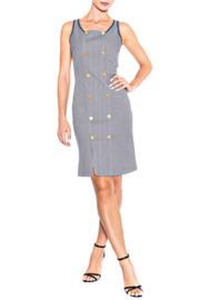 Alison Sheri Navy Striped Double Breasted Dress - Product Mini Image