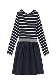 Petit Bateau Navy Striped Dress - Front cropped