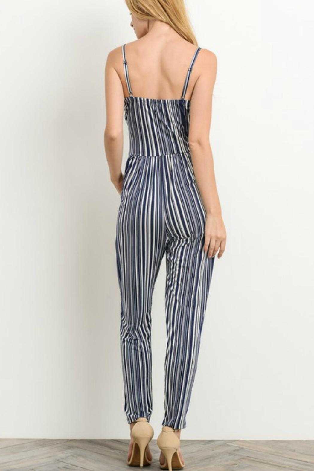 Gilli Navy Striped Jumpsuit - Side Cropped Image