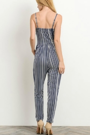 Gilli Navy Striped Jumpsuit - Side cropped