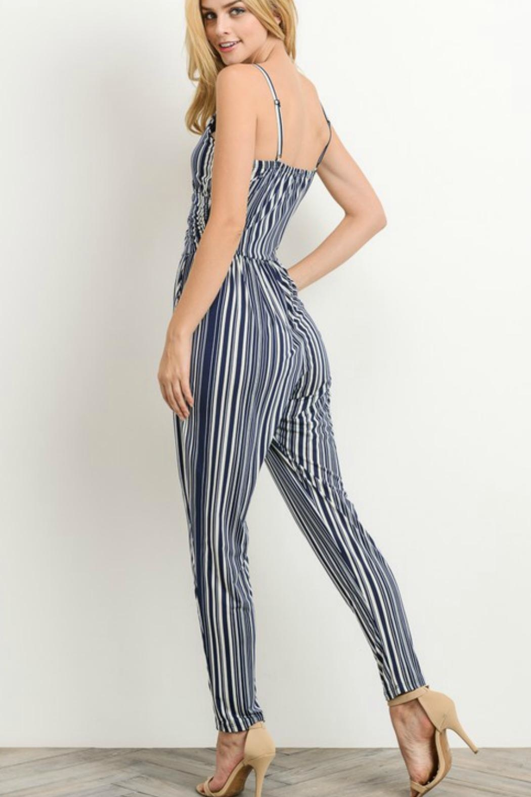 Gilli Navy Striped Jumpsuit - Front Full Image