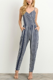 Gilli Navy Striped Jumpsuit - Front cropped