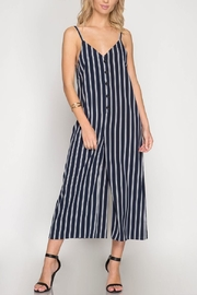 She + Sky Navy Striped Jumpsuit - Product Mini Image