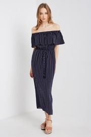 Soprano Navy Striped Maxi - Front cropped