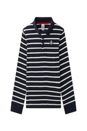 petit bateau Navy Striped Polo - Front cropped
