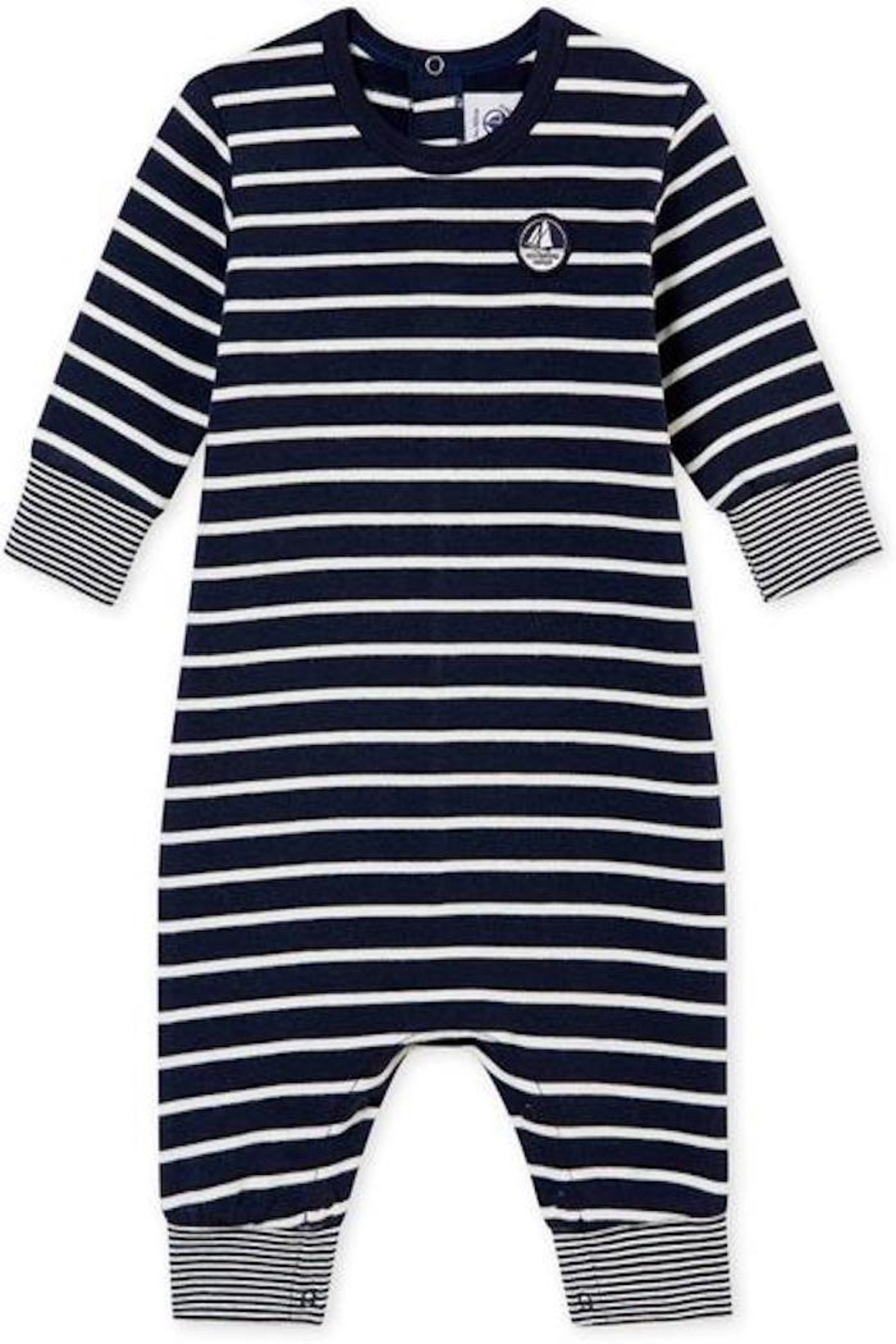 petit bateau Navy Striped Romper - Front Cropped Image