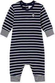 petit bateau Navy Striped Romper - Front cropped